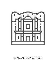 Monasterio de Petra, Jordania, ícono de línea de referencia.