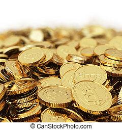 moneda, bitcoin, digital, bac, dorado