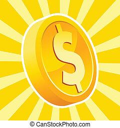 moneda, brillante, oro