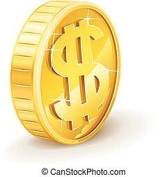 moneda, dólar, oro, señal