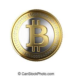 moneda, digital, bitcoin, dorado