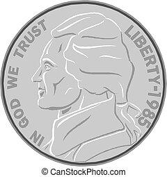 moneda, ilustración, vector