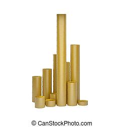 Monedas de oro aisladas en el fondo blanco