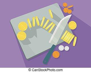Monedas de oro cortando la ilustración de la tabla