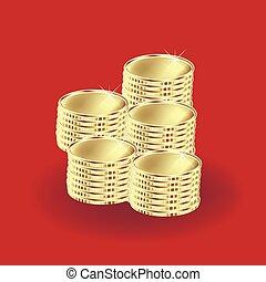 Monedas de oro en el fondo rojo, icono vector