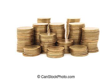 Monedas de oro en fondo blanco