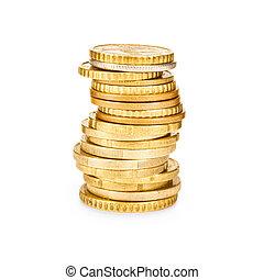 Monedas de oro. En un fondo blanco.