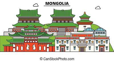 Mongolia plana de viaje fijo. Mongolia vector de la ciudad negra ilustración, símbolo, lugares de viaje, puntos de referencia.