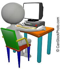 monitor, computadora computadora personal, usos, usuario, caricatura, 3d