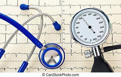 monitor, ekg, curva, presión, estetoscopio, sangre