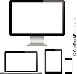 Monitor moderno, ordenador, portátil, p