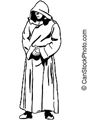 monk's, bosquejo, capucha, hombre