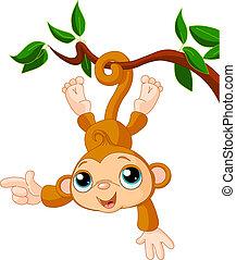 mono, bebé, actuación, árbol