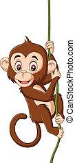 Mono bebé de dibujos animados colgando de una rama de árbol