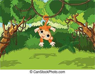 Mono bebé en un árbol