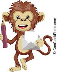 Mono con sobre, ilustración, vector de fondo blanco.