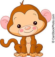 mono, diversión, zoo.