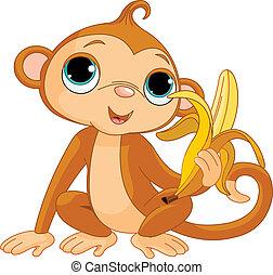 Mono divertido con banana