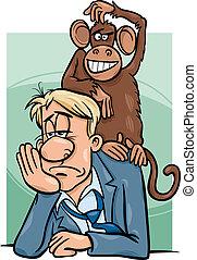 Mono en tu caricatura trasera