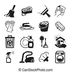monocromático, vector, limpieza, iconos