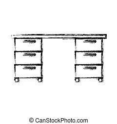 Monocromo borrosa silueta de escritorio de oficina de madera