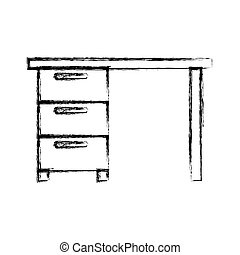 Monocromo borrosa silueta de escritorio de oficina de madera con cajones
