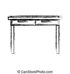 Monocromo borrosa silueta de simple escritorio de madera