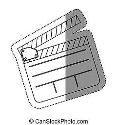 Monocromo contour sticker con clapperboard cinema