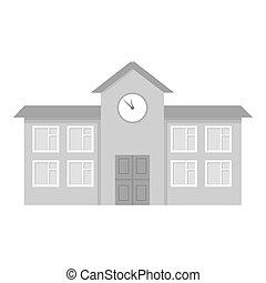 Monocromo escolar. Un icono de construcción de la gran ciudad monocromo de infraestructura.