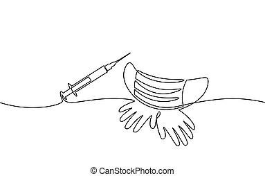 monocromo, mano, covid, seguro, sketch., pandemia, jeringuilla, epidemia, concept., alergia, inyección, uno, solo, pneumonia, blanco, ilustración, coronavirus, vector, arte de línea, dibujado, vacuna