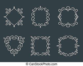 monogram, marcos, contorno