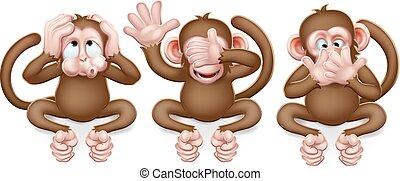 monos, caricatura, no, caracteres, mal, oír, hablar, ver