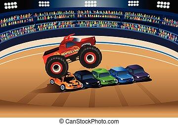 Monster Truck saltando en los coches