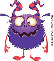 monstruo, carácter, caricatura, vector, grande, ilustraciones, divertido, horns.
