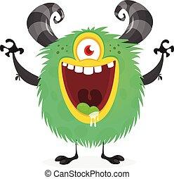 monstruo, carácter, eye., lindo, caricatura, vector, uno, divertido