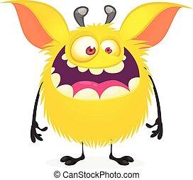 monstruo, carácter, smile., lindo, caricatura, vector, grande, divertido