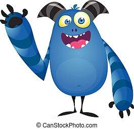 monstruo, caricatura, ilustración, vector, grande, fresco, divertido, horns.