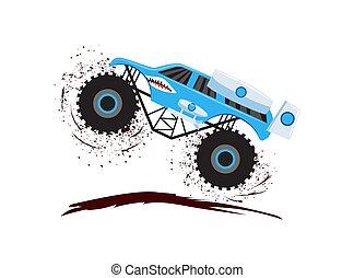 monstruo, suciedad, camión grande, vehículo, salto, carrera, -, camino, velocidad, ruedas