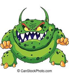 Monstruo verde enojado
