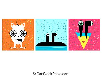 Monstruos graciosos de dibujos animados con ojos grandes