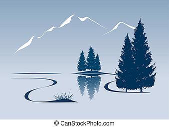 montaña, actuación, ilustración, estilizado, paisaje de río