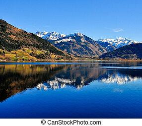montaña azul, lago reflejo, paisaje, vista
