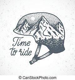 montaña, casco, paseo, resumen, o, dotwork, snowboard, vector, tiempo, dibujado, mano, esquí, style., paisaje
