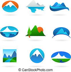 montaña, colección, relacionado, iconos