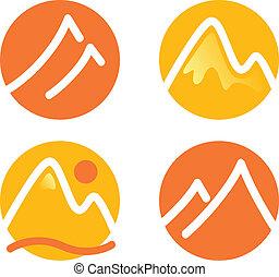 montaña, conjunto, iconos, ), (, aislado, amarillo, naranja, blanco