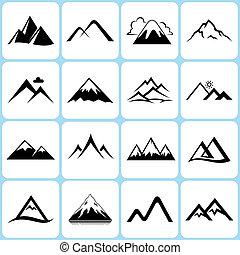 montaña, conjunto, iconos