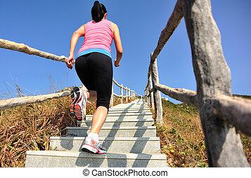 montaña, corriente, mujer, deportes