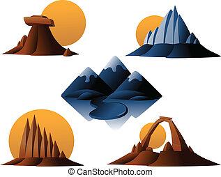 montaña, desierto, iconos