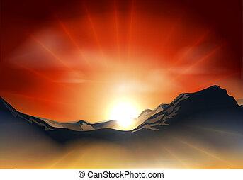 montaña, encima, gama, salida del sol