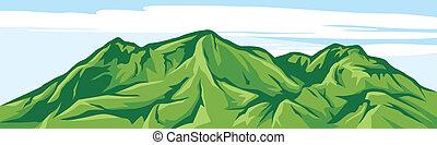 montaña, ilustración, paisaje